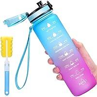 Favofit 1 liter drinkfles met motivatietijdmarkering, BPA-vrij, Tritan waterfles met fruitfilter en reinigingsborstel…