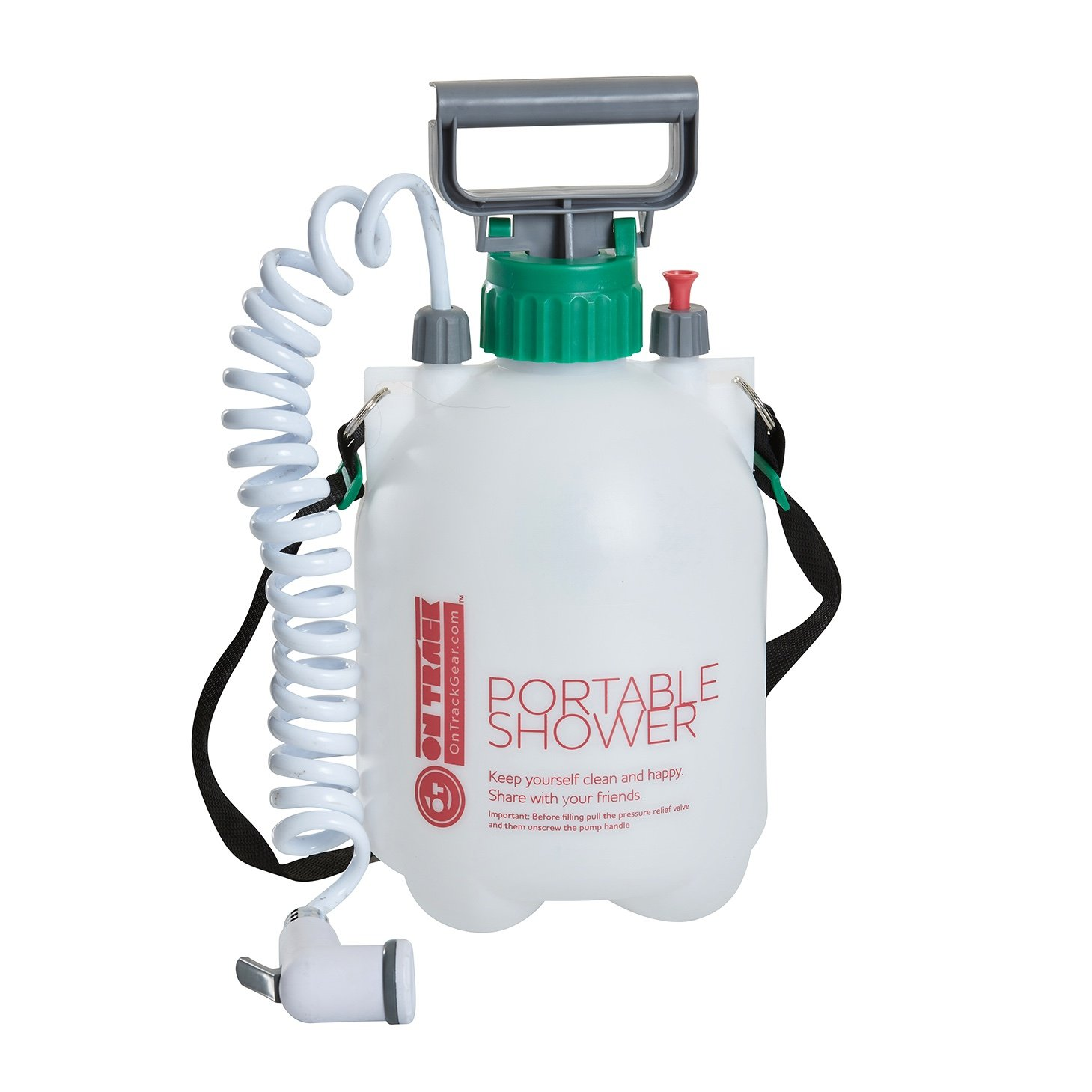 On Track Rugged Outdoor Pressurized Portable Rinse Off Shower - Ideal for Camping, Fishing, Surfing, Cycling, Trail Running.