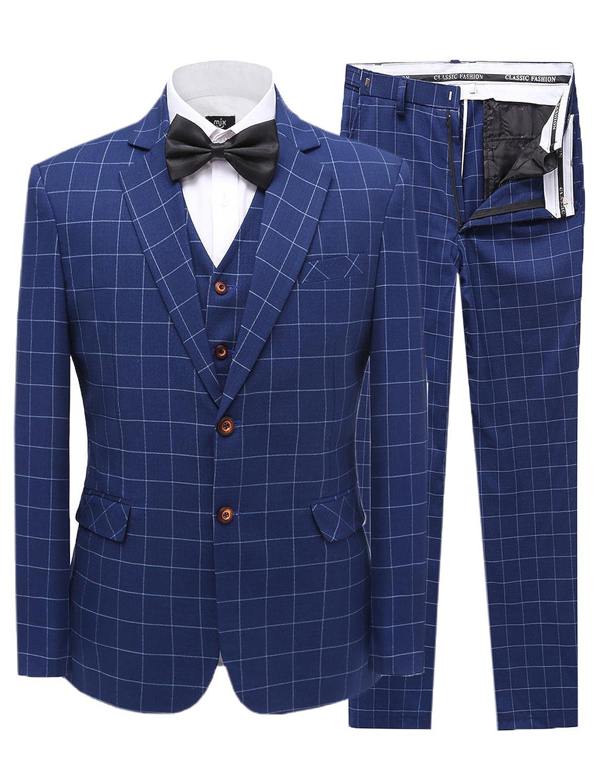 JYDress Men's Blue Blue Slim Fit 3 Piece Suit Blazer Jacket Tux Vest & Trousers MS18092705
