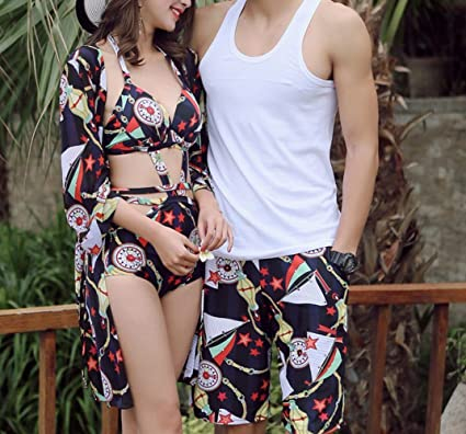 9c8df86f391d7 Amazon.com : Couples Swimsuits Women Conjoined Triangle Small Chest  Gathering Hot Blouse Cover Belly Bikini Men Beach Pants Swimming Trunks,  Black, ...