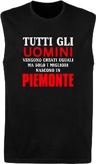 Speed Shirt Canottiera Uomo Nera T1193 Tutti Gli Uomini VENGONO Creati Uguali MA Solo I Migliori Nascono in Piemonte