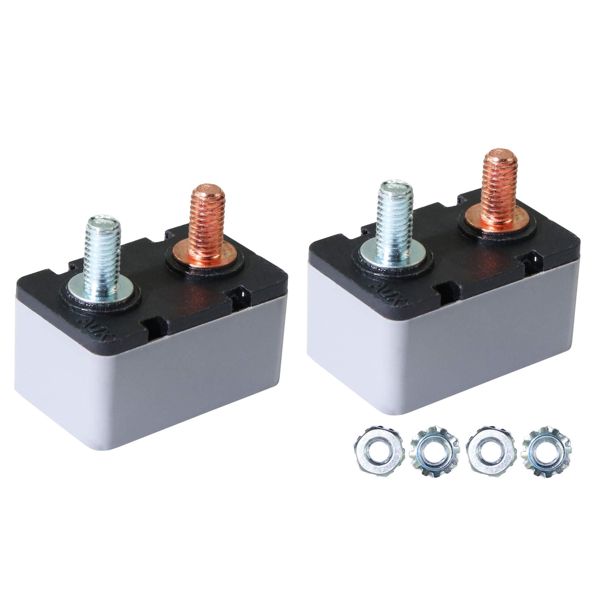 2PCS 12-24V 50 Amp ATV Resettable Circuit Breaker Fuse holder Metal Stud Bolt 50A