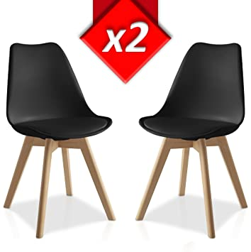 Pack 2 sillas Lucia Negro, pata madera y asiento acolchado, estilo nórdico: Amazon.es: Hogar