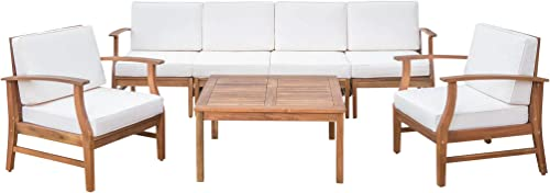 Lorelei Outdoor 6 Seater Teak Finished Acacia Wood Sofa and Club Chair Set