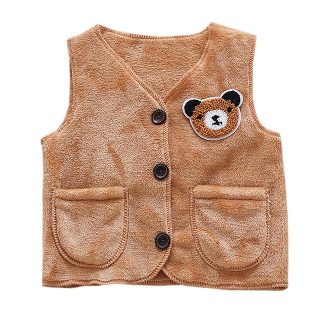 SHOBDW Girls Gilet, Baby Toddler Cute Animal Coral Velvet Jackets Warm Waistcoat Infant Coat Clothes SHOBDW-99