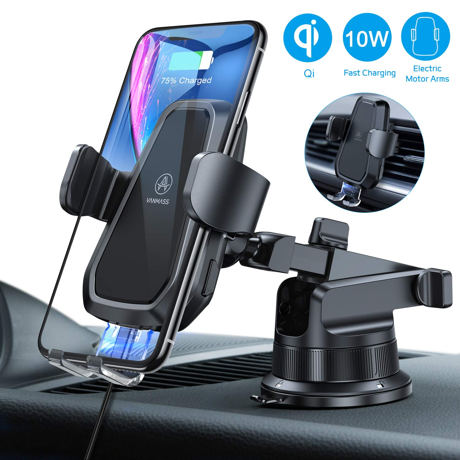 VANMASS Wireless Car Charger Mount, Automatic Clamping Qi 10W 7.5W Fast Charging Car Mount, Windshield Dashboard Air Vent Phone Holder Compatible with iPhone 11 Pro Max Xs X 8,Samsung S10 Note10,Black by VANMASS