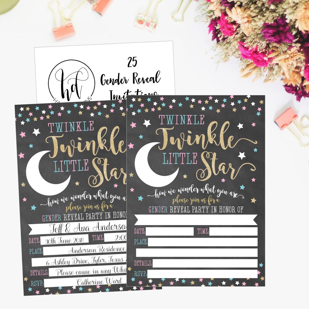 25 Twinkle Little Star Gender Reveal Baby Shower Party Invitation Cards Gold and Black He or She For Gender Neutral Unisex Invites Guess If It's a Boy or Girl Sprinkle Fill In The Blank Printable Pack by Hadley Designs (Image #2)