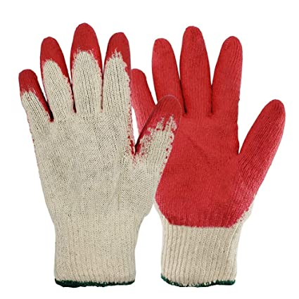 Men 12-Pairs G  F 3100M-Dz Knit Work Gloves With Textured Rubber Latex Coated