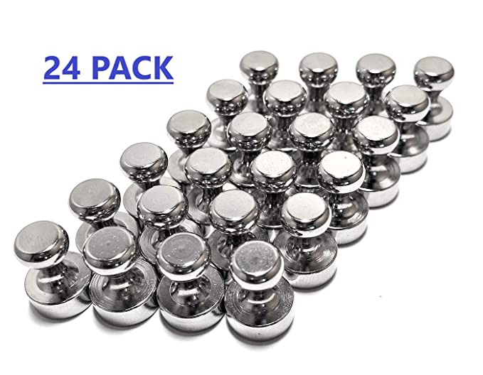 Amazon.com : VERSAMAG - 24 Pack Industrial Strength Brushed Nickel Magnetic Push Pins - Strong Fridge Magnets, Whiteboard Magnets, Office Magnets, ...
