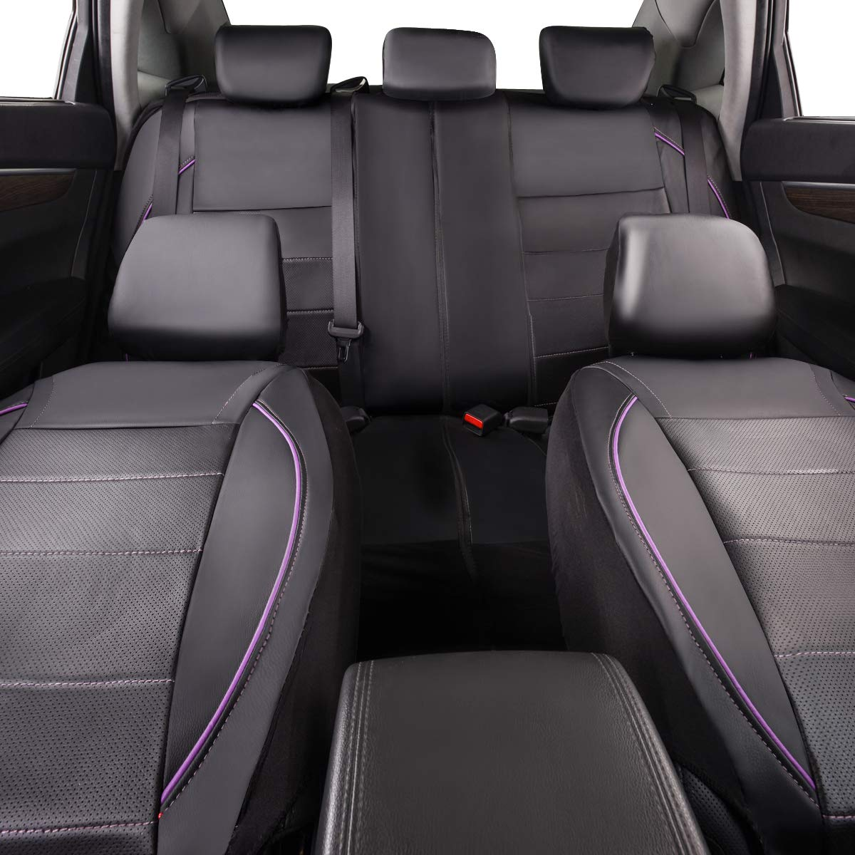 CAR PASS UNIVERSAL FIT PIPING Leather Car Seat Cover Full seat covers, black and purple color NEW ARRIVAL Perfect fit for suvs,Van,Trucks,Airbag compatible,Inside Zipper Design And Reserved Opening Holes