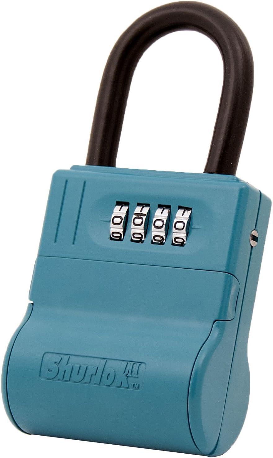 ShurLok SL-600W 4 Dial Numbered Key Storage Combination Lock Box, Blue