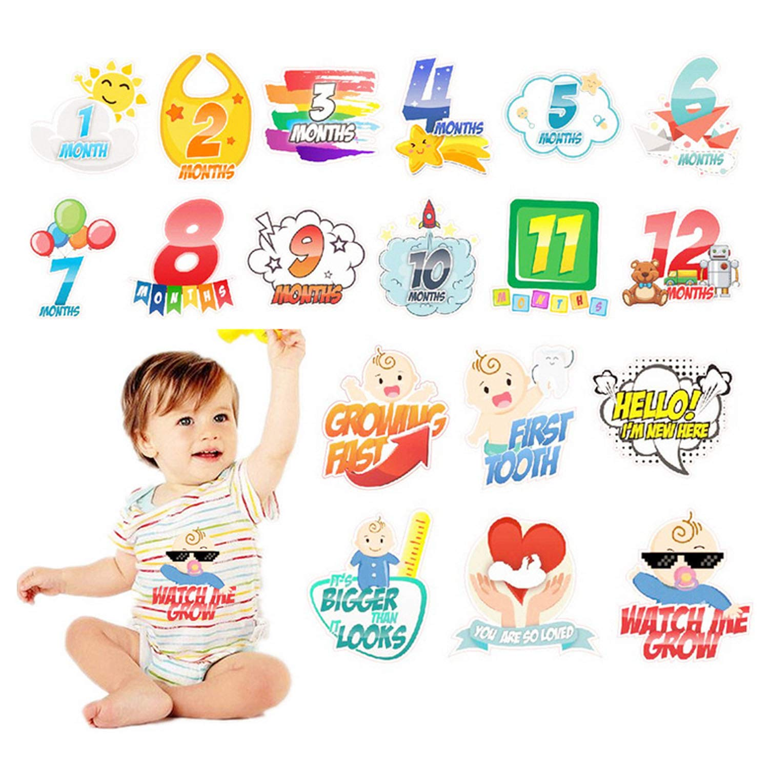 18pcs Cute Lovely Baby Monthly Milestone Stickers 12 Months + 6 Special Stickers for Newborn Baby First Year Baby Shower Gifts Boy Gosear