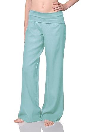 Beachcoco Women's Fold Over Comfortable Wide Linen Pants at Amazon ...