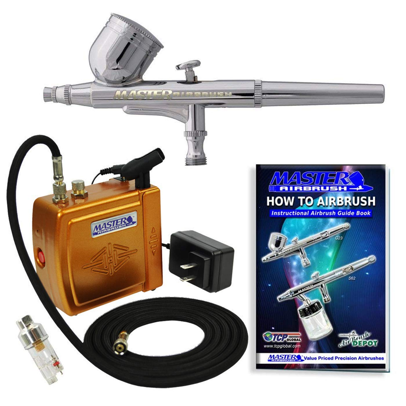 Master Airbrush Brand Model G22 Airbrushing System with Model C16-G Gold Portable Mini Airbrush Air Compressor-The Complete Set Now Includes a (FREE) How to Airbrush Training Book to Get You Started by Master Airbrush SYNCHKG036578