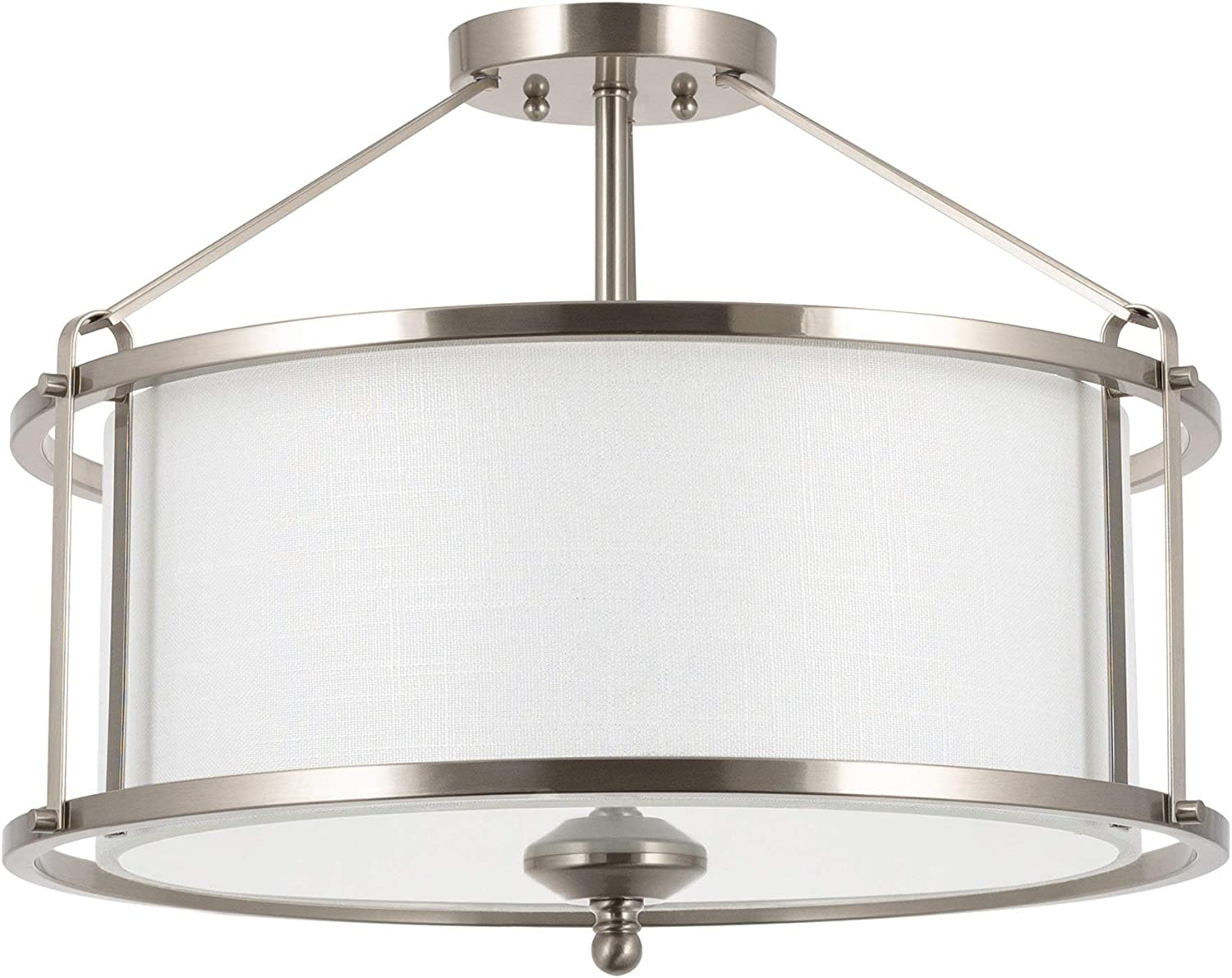 "Kira Home Maxwell 17.5"" Modern 3-Light Metal Semi Flush Mount + Tempered Glass Diffuser, White Fabric Shade, Brushed Nickel Finish"