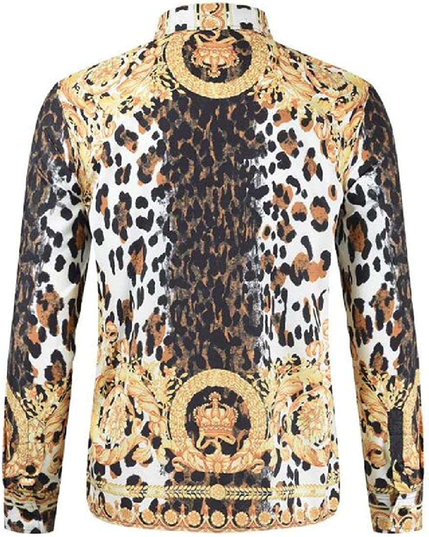 Fubotevic Men Slim Long Sleeve Leopard Print Fashion 3D Print Button Down Dress Work Shirt