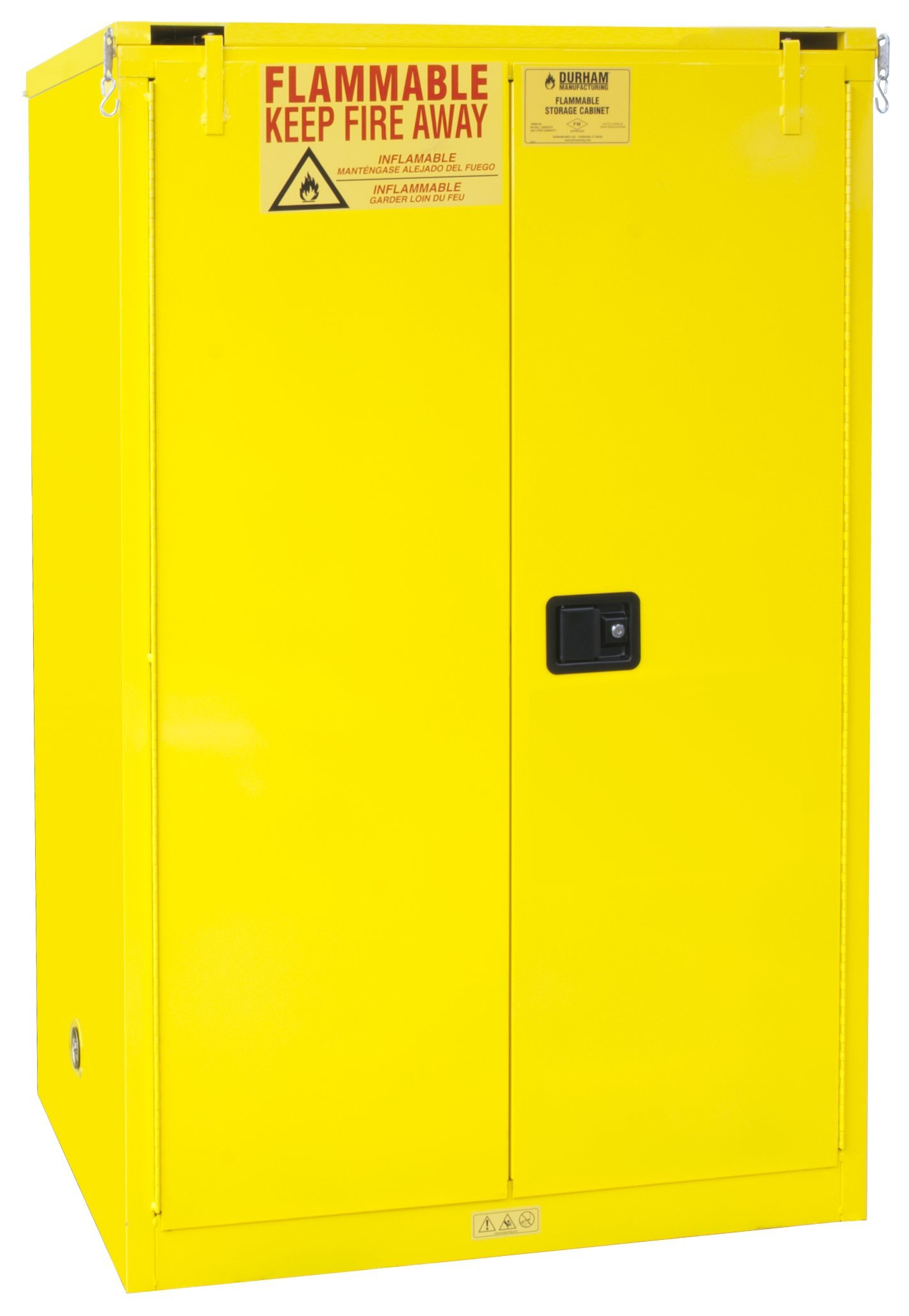 Durham FM Approved 1090S-50 Welded 16 Gauge Steel Flammable Safety Self Closing Door Cabinet, 2 Shelves, 90 gallons Capacity, 34'' Length x 43'' Width x 65'' Height, Yellow Powder Coat Finish