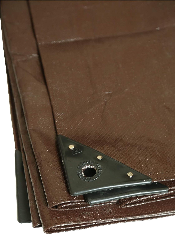 Rot//Rip//Tear Proof 16 Mil Brown Poly Tarp Cover Tarpaulin w//Rustproof Grommets /& Reinforced Edges Super Heavy Duty Tarp UV Resistant Cut Size: 10/' x 10, Finished Size: 96 x 96