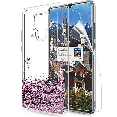 LeYi Funda Huawei Mate 20X Silicona Purpurina Carcasa con HD Protectores de Pantalla,Transparente Cristal