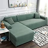 High Stretch Sofa Couch Cover,l-shape Universal Couch Covers,1-piece Chaise Sofa Slipcover Elastic Couch Shield Furniture Protector For Pets Dogs-green 3 Seater(75-91inch)