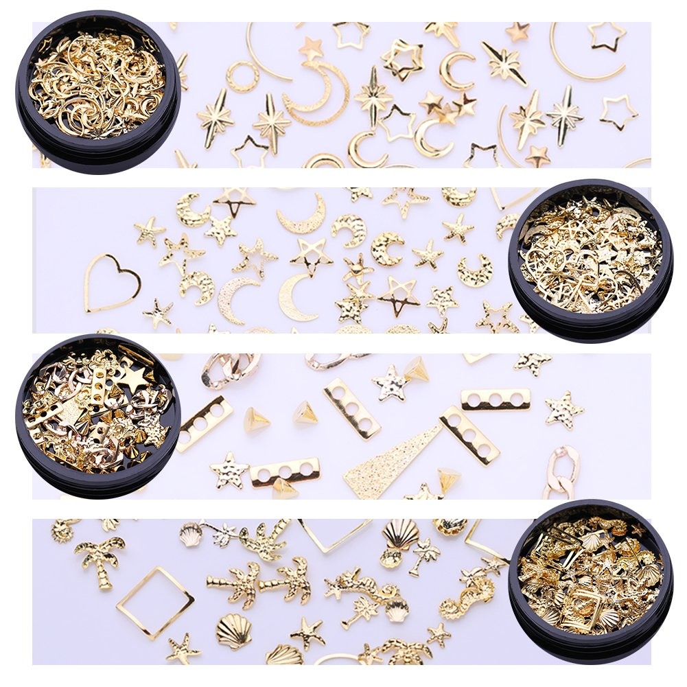 NICOLE DIARY Ocean Nail Art Studs Gold Charms Summer Sea Metal Alloy Rivets Shell Starfish 3D Hollow Star Punk Animal Sparkly Manicure Tips Decoration Accessories(4 Boxes)