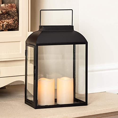 Lights4fun Large Black Metal Battery Operated LED Flameless Candle Lantern for Indoor Outdoor Use