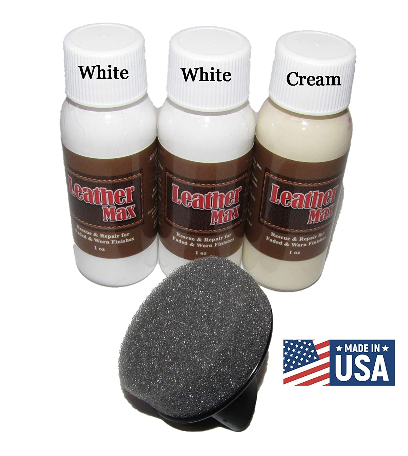Leather Max Quick Blend Refinish and Repair Kit, Restore, Recolor & Repair / 3 Color Shades to Blend with/Leather Vinyl Bonded and More (White Mix)