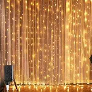 CREASHINE Window Curtain String Light, 9.8ft X 9.8ft 300 LED Fairy Twinkle Lights with 8 Modes for Wedding Party Home Garden Patio Backdrop Bedroom Outdoor Indoor Wall Decorations, Warm White