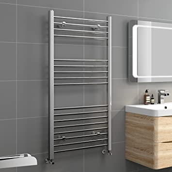 Ibathuk X Straight Heated Towel Rail Chrome Bathroom
