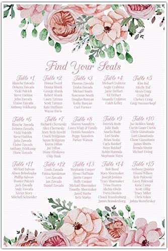 Watercolor Flowers Wedding Seating Chart Sign Table