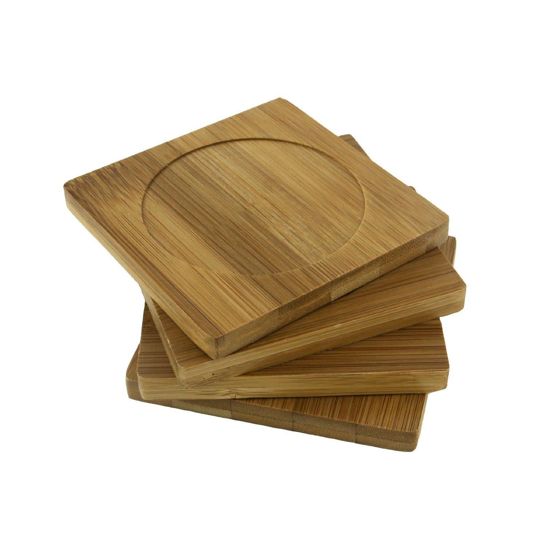 BambooMN Brand - Heavy Duty 100% Eco-Friendly Natural Bamboo Coaster Set - 4'' x 4'' Square - 1 Set of 4