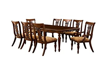 Cool Furniture Of America Voltaire 9 Piece Formal Dining Table Set With 18 Inch Expandable Leaf Dark Oak Finish Customarchery Wood Chair Design Ideas Customarcherynet