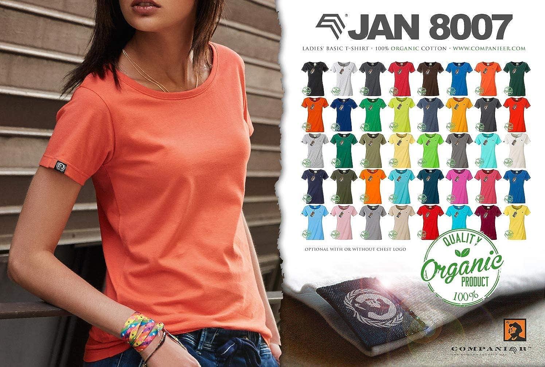 JAN 8015 Damen Bio-Baumwolle T-Shirt COMPANIEER Organic Blau Hellblau Melange ..