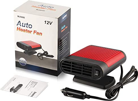 Car Heater Car Windshield Defogger Defroster 12 Volt 150W Auto Heating Fan 3-Outlet 30 Seconds Fast Heating Demister Red