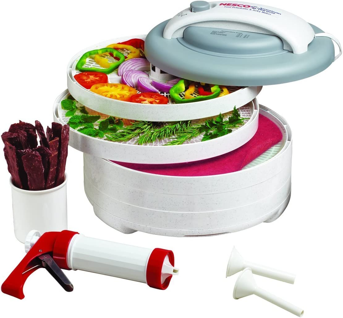 NESCO FD-61WHC, Snackmaster Express Food Dehydrator All-in-One Kit with Jerky Gun, White, 500 watts (Renewed)