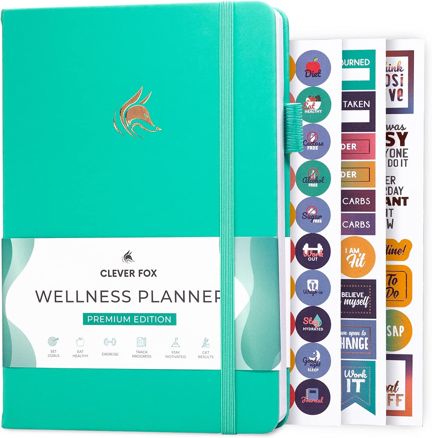 Clever Fox Wellness Journal - Weekly & Daily Health and Wellness Log, Food Journal & Meal Planner Diary for Calorie Counting, Notebook for Medical Condition Tracking, A5-Sized - Turquoise