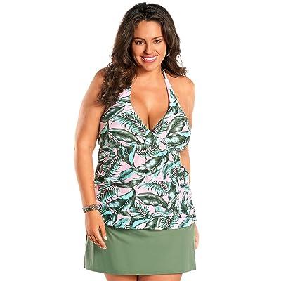 Always For Me Women's Plus Size Underwire Two Piece Tankini & Skirtini Set