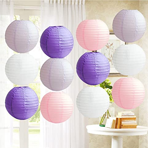 12pcs purple shade 12 round paper lanterns lamp shade diy chinese 12pcs purple shade 12quot round paper lanterns lamp shade diy chinese paper lanterns for junglespirit Images