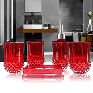 Amazon.com: HQdeal 5PC Set Acrylic Bathroom Accessories Bathroom ...