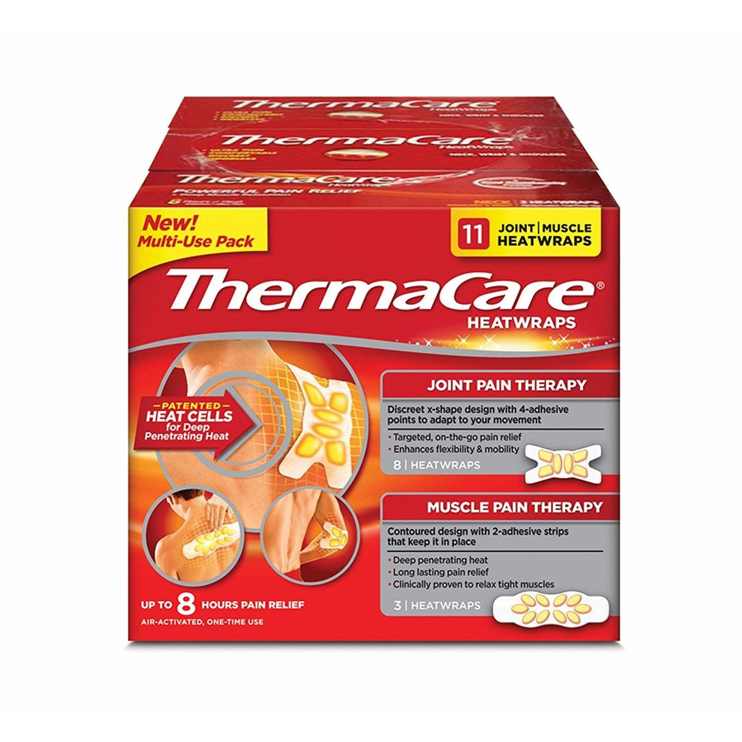 ThermaCare New Multi-Purpose HeatWraps, 3 for Muscle Pain and 8 for Joint Pain Therapy, Flexible Long-Lasting Relief for Up to 8 Hours, 11 Count