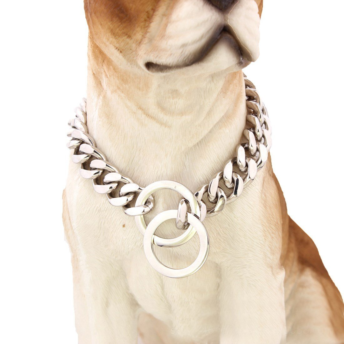30 inch Pet Online Dog collar mirror polished stainless steel p chain titanium steel chain necklace pet dog training leash Tow Collar 15mm,30