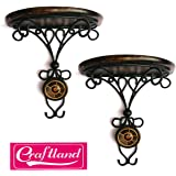 Craftland Wooden Wall Bracket Hanging for Living Room(Brown) - Combo of 2