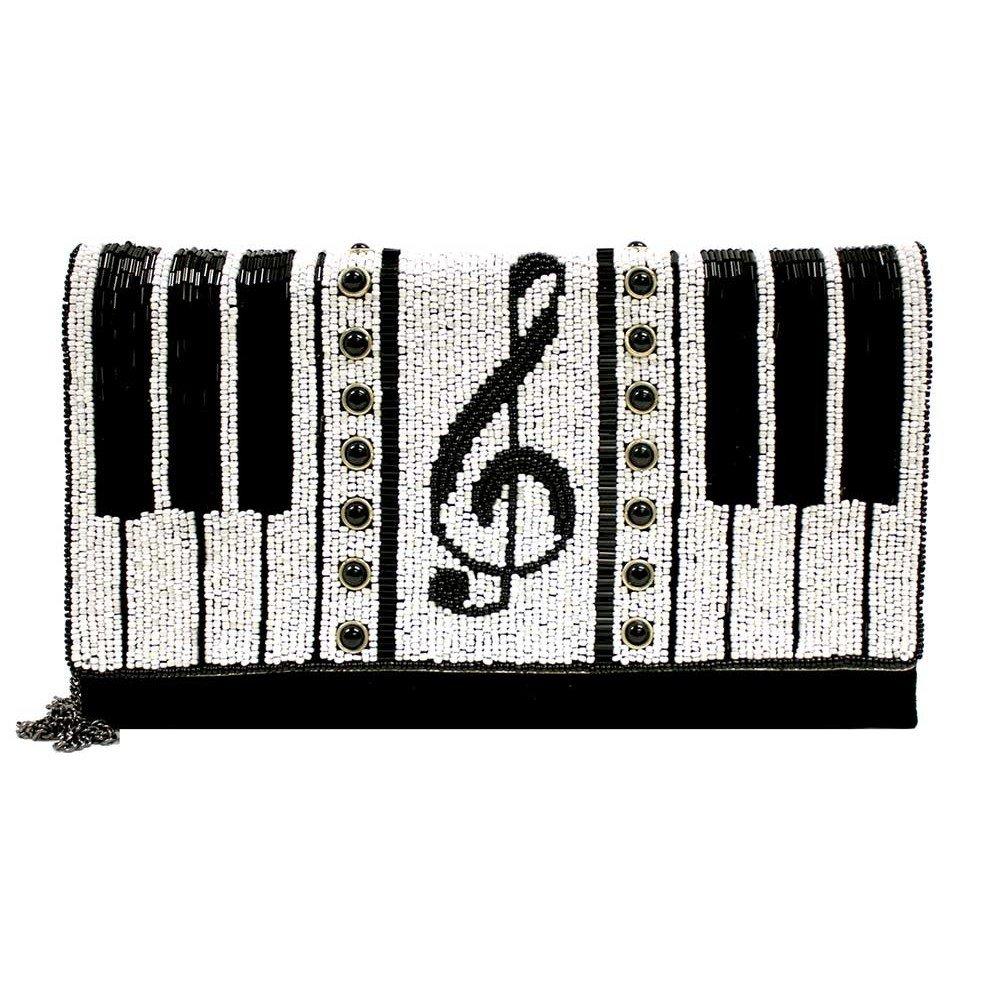 MARY FRANCES Keyed Up Beaded Piano Clutch Handbag