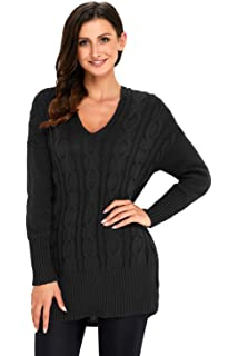 Fablight Womens Casual Long Sleeve V Neck Slim Fit Pullover Knit Sweater