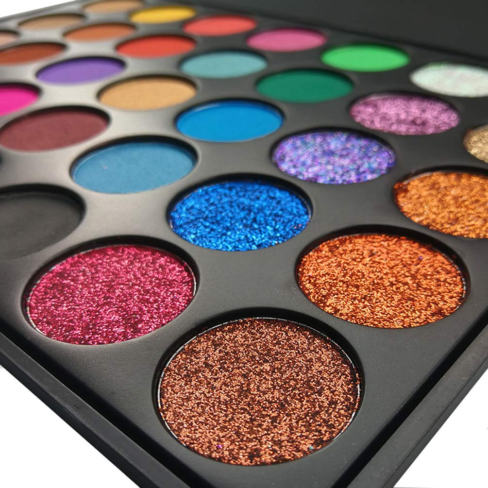 Glitter Eyeshadow Palette, FindinBeauty 35 Bright Colors Matte and Shimmery Silky Powder - Long Lasting and Pigmented Pressed Glitter Eye Shadow Makeup Set (35N10)