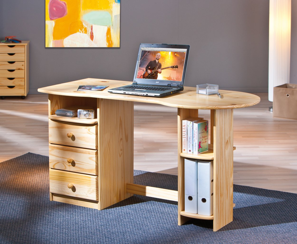 Inter link bureau table de travail pin massif vernis naturel