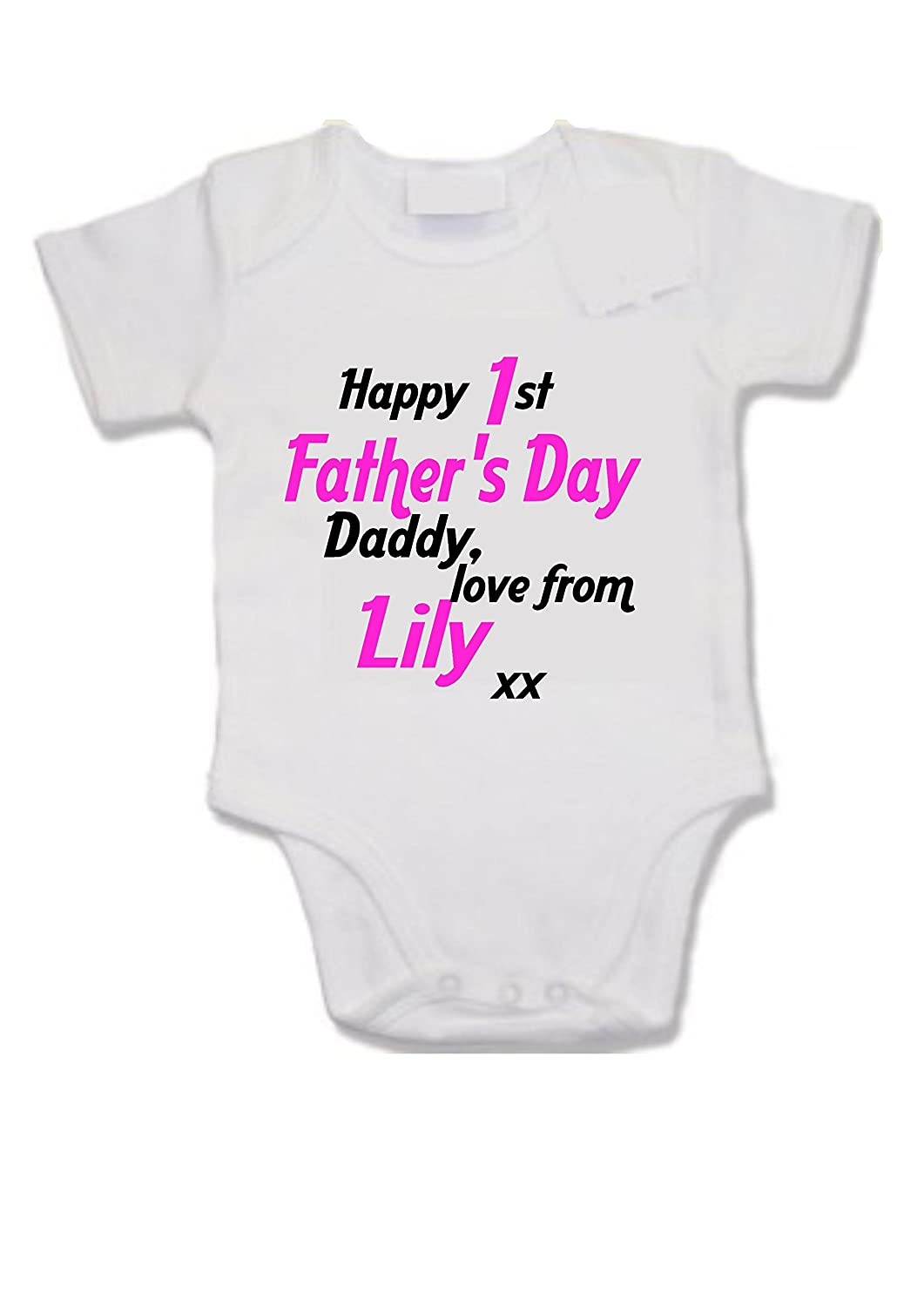 Customised baby vest - Happy 1st Father's Day Daddy love from (your name) xx daughter