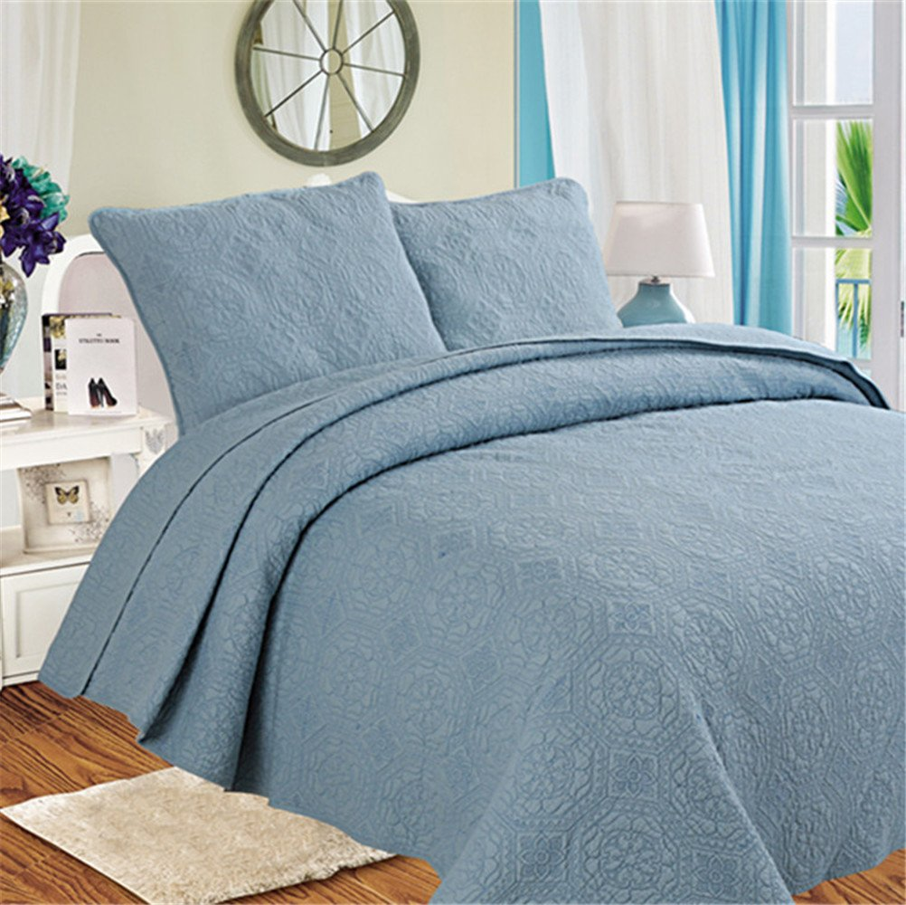 RFVBNM Quilt plain embroidered quilted bed cover three-piece,blue 230*250cm