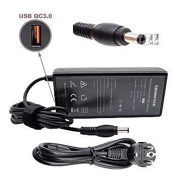 TJFOREVER Cargador Ordenador portátil para ASUS N17908 V85 ADP-90CD DB X555l X551M Toshiba Satellite 19V 4.74A 90W con USB QC 3.0 Fuente de ...