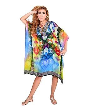 Bayside Barcelona Multicolor Impresión en Caja Caftan de Las Mujeres de la Cristales embellecidos Digital Kimono